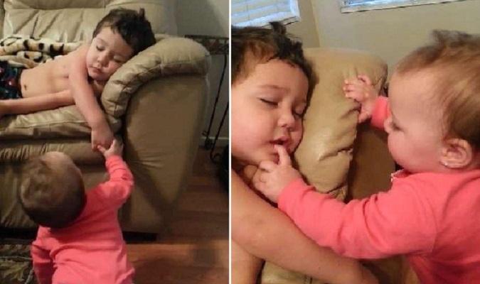 Ngạc nhiên phản ứng của anh trai khi bị em gái trêu chọc giấc ngủ